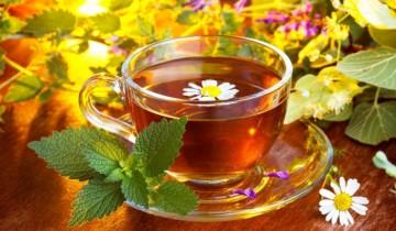 ромашка в чае, веточка мяты