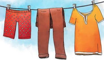 рисунок штаны, футболка, трусы на веревке