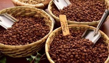 корзинки с зернами кофе